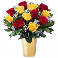 Doamna Frumoasa: 6 trandafiri rosii si 5 trandafiri galbeni