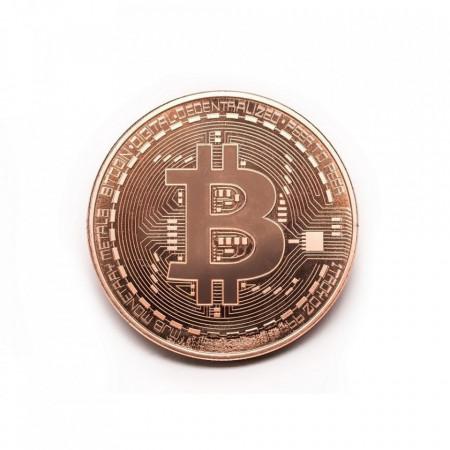 Moneda Suvenir Bitcoin Copper, diametru 40 mm, in cutie de plastic