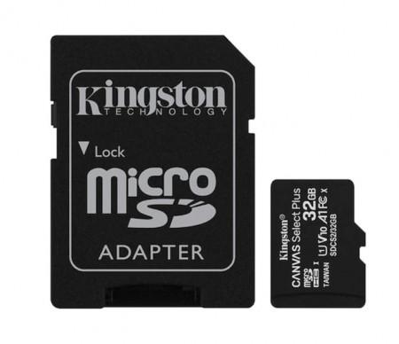 Card de memorie MicroSD Kingston, 32GB, 100MB/s, cu adaptor, negru