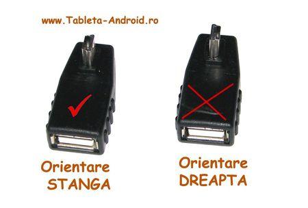 Adaptor OTG Mini USB la 90 grade - orientare spre Stanga