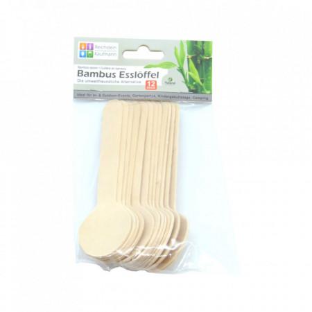Set 12 bucati, linguri din lemn de bambus, 100% naturale
