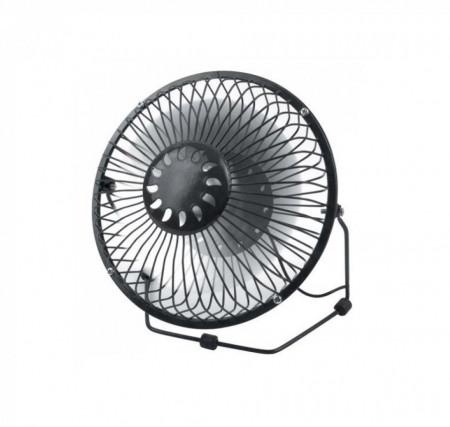 Ventilator metalic pentru birou, paleta din aluminiu, diametru 18 cm, Negru