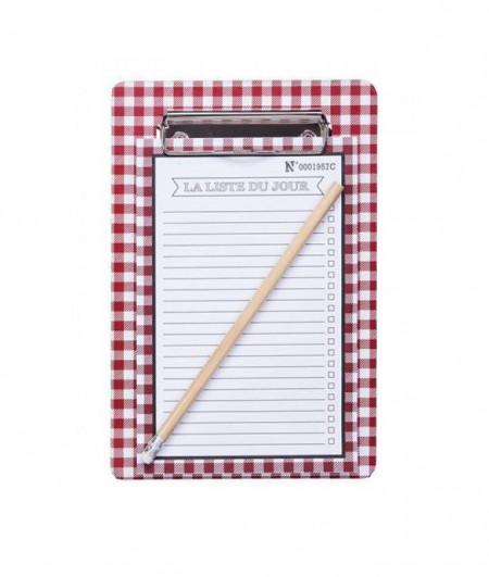 Lista de cumparaturi magnetica tip clipboard, carouri, rosu