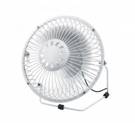 Ventilator metalic pentru birou, paleta din aluminiu, diametru 18 cm, Alb