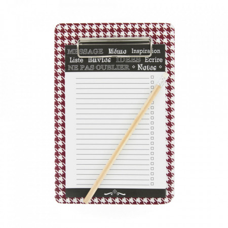 Lista de cumparaturi magnetica tip clipboard, carouri cu dungi, rosu