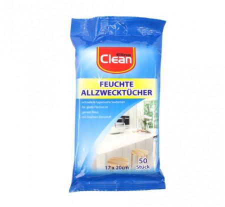 Servetele umede multi suprafetele, Elina Clean, parfum de lamaie, 50 bucati