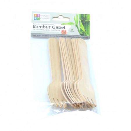 Set 12 bucati, furculite din lemn de bambus, 100% naturale