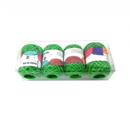 Set 4 bucati, Bobine String Art, fir din bumbac, 2mm x 10m, Verde