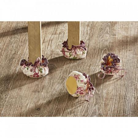 Set 4 papucei de protectie pentru scaune si mese, motiv floral protectie scaun tip papuci