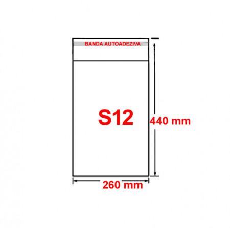 Set plic ambalaj transparent, S12 - 440 x 260 mm, cu banda autoadeziva, 100 buc/set