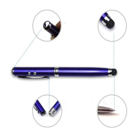 Stylus Pen albastru, cu 4 functii. Laser, Stylus, Lanterna si Pix