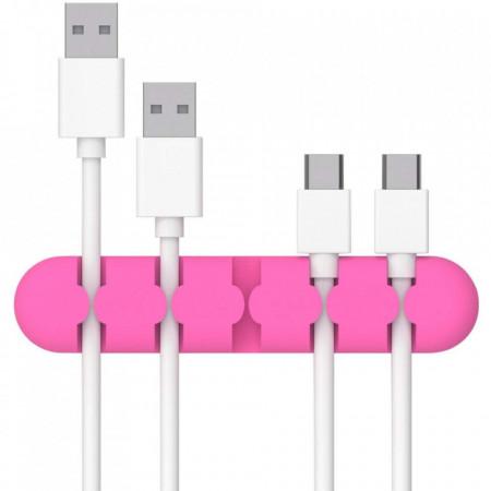 Suport cabluri autoadeziv pentru birou, 5 sloturi, roz fuchsia