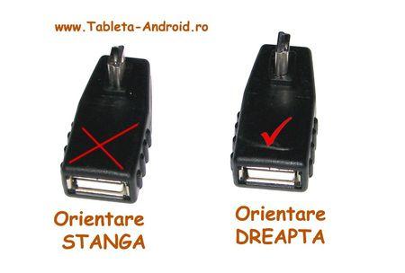 Adaptor OTG Mini USB la 90 grade - orientare spre Dreapta