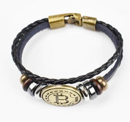 Bratara barbati, model Bitcoin, aspect Vintage, Alama