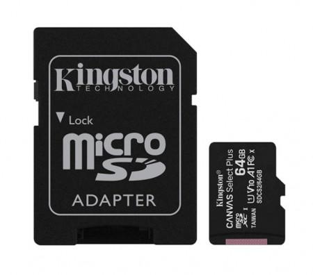 Card de memorie MicroSD Kingston, 64GB, 100MB/s, cu adaptor, negru