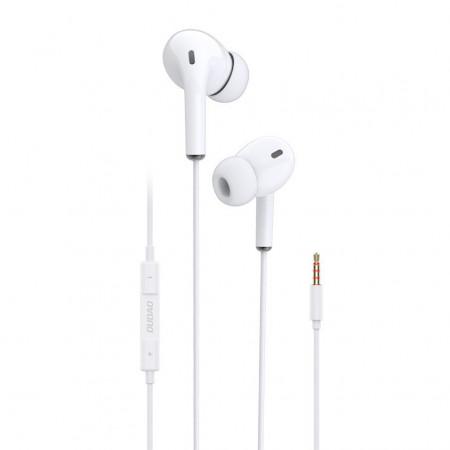 Casti audio Dudao X14, control volum pe fir, mufa Jack 3.5 mm, 4 pini, Albe