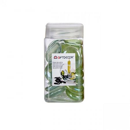 Sticla decorativa, discuri ovale, lucioase, 420 grame, Verde