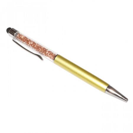 Touch pen cu pix incorporat, stylus auriu decorat cu Cristale