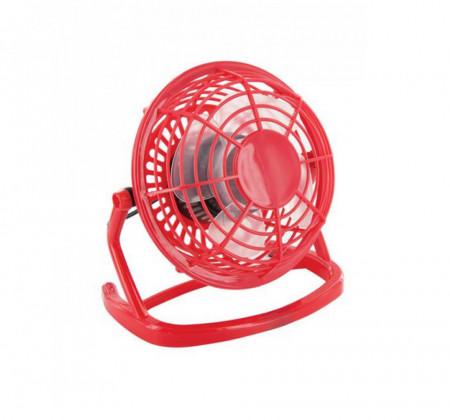 Ventilator pentru birou, alimentare cu USB, diametru 13 cm, plastic, Rosu