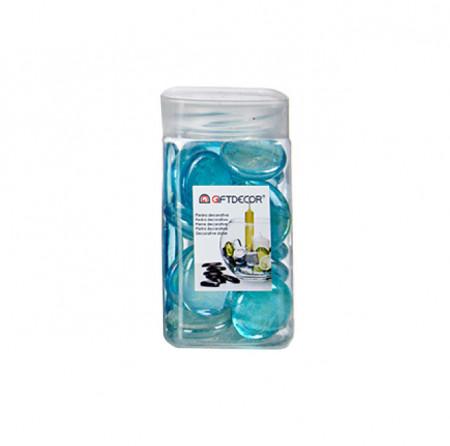 Sticla decorativa, discuri ovale, lucioase, 420 grame, Albastru