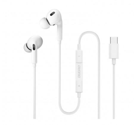 Casti audio Dudao X14T, control volum pe fir, mufa USB tip C, Albe