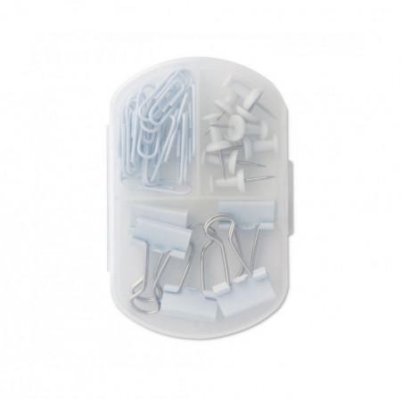Set accesorii de birou in cutie, compartimentata, 33 piese, Alb