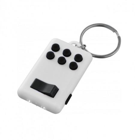 Breloc Flip & Click, lanterna 2 LED-uri, butoane Digitatie, anti-stres, concentrare, Alb