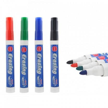 Set 8 bucati, Marker pentru tabla alba (Scoala), subtire, varf rotund, Multicolor