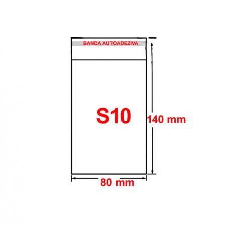Set plic ambalaj transparent, S10 - 140 x 80 mm, cu banda autoadeziva, 100 buc/set
