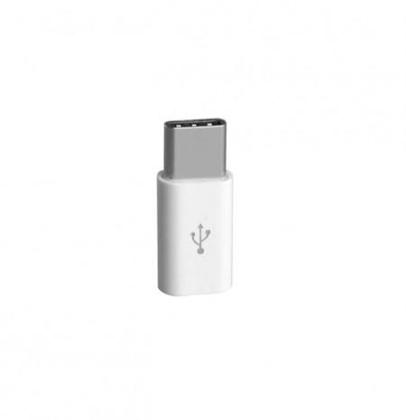 Adaptor de la Micro USB mama la USB tip C Tata - Alb