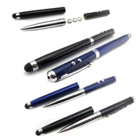 Stylus Pen Visiniu cu laser, lanterna si pix cu pasta neagra.