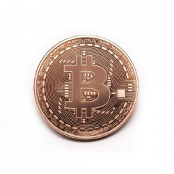 Moneda Suvenir Bitcoin Copper, diametru 40 mm, in cutie de plastic