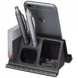 Suport de birou pentru tablete si telefoane cu orificii pentru papetarie, Negru
