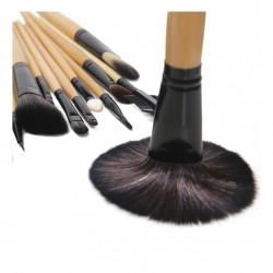 Trusa pensule machiaj, 24 piese, suport piele ecologica, Negru