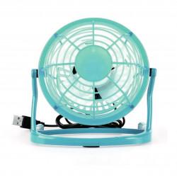 Ventilator pentru birou, alimentare cu USB, diametru 13 cm, plastic, Turcoaz