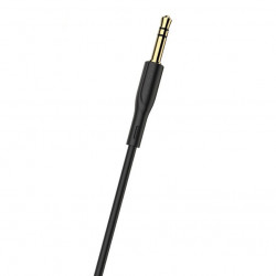 Cablu auxiliar , audio stereo, Jack 3.5 mm, 3 pini, Negru
