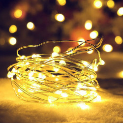Ghirlanda lumini tip zana, micro fairy, 115 cm, 10 led-uri, lumina alb cald