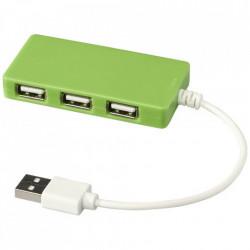 Hub USB 2.0 pentru tableta, 4 porturi, mufa USB 2.0, Compact, Verde Lime