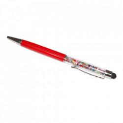 Stylus pen cu pix si cristale colorate, touch pen de culoare rosie