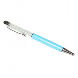 Touch pen cu pix incorporat, stylus turcoaz decorat cu Cristale