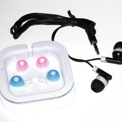 Casti audio pentru copii cu dopuri din silicon, negre