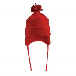 Fes calduros din felpa, pentru copii, prevazut cu snur, diametru 17 cm. rosu
