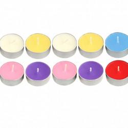 Set 10 bucati, lumanari fara fum, aromaterapie, 35 x 8 mm, multicolor