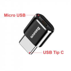 Adaptor Baseus de la Micro USB mama la USB tip C Tata - Negru