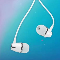 Casti audio cu microfon, WK Design, model Y6, 120 cm , Albe