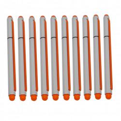 Set 10 buc, Stylus 2 in 1 cu Pix cu capac si elastic, Portocaliu