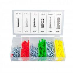 Set 165 piese, solsuruburi si dibluri din plastic, multicolor
