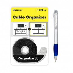 Set banda organizare cabluri, cu dispenser, marca Wozinsky, 200 cm, Neagra si stylus Nash