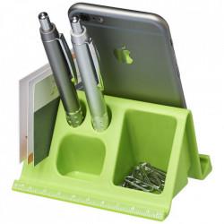 Suport de birou pentru tablete si telefoane cu orificii pentru papetarie, Verde