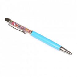 Stylus pen cu pix si cristale colorate, touch pen de culoare turcoaz